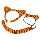 Cute Costume Party Holiday Tiger Ears Headband + Bow Tie + Tail Set - Yellow (3 PCS)