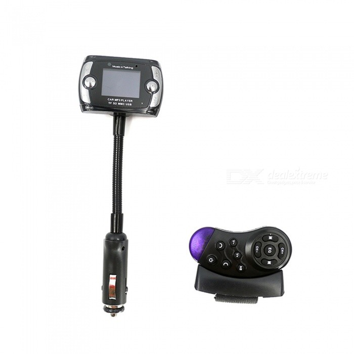 1.5 LCD Bluetooth V2.1 Car MP3 Player FM Transmitter w/ Steering Wheel Button / Remote ControllerFM Transmitters and Players<br>Material:Form  ColorBlackShade Of ColorBlackScreen DisplaySound ModeSupported LanguagesEnglishPower Off Memory Function YesAudio FormatsMP3Remote ControlYesInterface/PortSD card slot,3.5mm,2.5mmStorage InterfaceSDBuilt-in Flash Memory0External Memory Max. Support1Power Supply12Packing List<br>