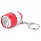 Stylish Mini White 6-LED Flashlight w/ Keychain - Red (2 x CR2032)