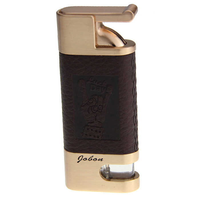 319A Stainless Steel Windproof Butane Gas Lighter - Golden + Brown 1 pc hotselling stainless steel camo fierce power flashlight slingshot with beautiful appearance