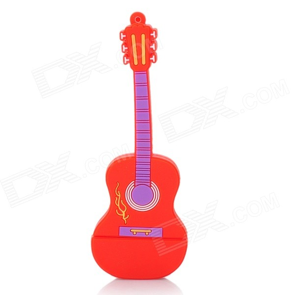 Cute Guitar Style USB 2.0 Flash Drive - Red (8GB)