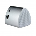 "Rechargeable 1.1"" LED Mini MP3 Player Music Speaker w/ FM / USB / TF Slot - Silver"