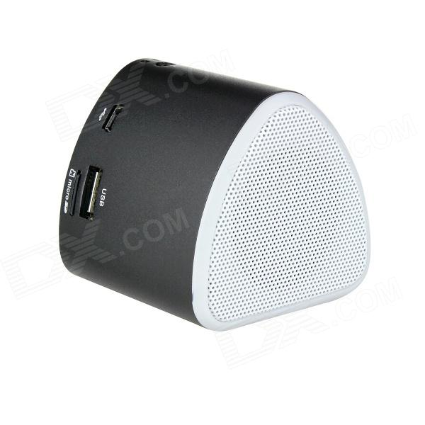Rechargeable 1.1 LED Mini MP3 Player Music Speaker w/ FM / USB / TF Slot - Black stylish portable mp3 music speaker with fm radio sd slot usb host multi color led white