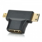 3-in-1 1080p HDMI Female to Micro / Mini HDMI Male Adapter - Black