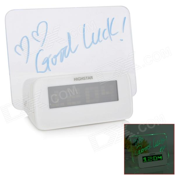 3.0 LCD Green Backlight Message Board Digital Alarm Clock - White (3 x AAA) tl 031 2 3 lcd thermometer w clock countdown white black 1 x aaa