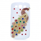 Protective 3D Peacock Style Imitation Diamond Plastic Back Case for Samsung Galaxy S3 i9300 - White