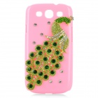 Protective 3D Peacock Style Imitation Diamond Plastic Back Case for Samsung Galaxy S3 i9300 - Pink