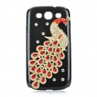 Protective 3D Peacock Style Imitation Diamond Plastic Back Case for Samsung Galaxy S3 i9300 - Black