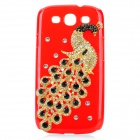Protective 3D Peacock Style Imitation Diamond Plastic Back Case for Samsung Galaxy S3 i9300 - Red