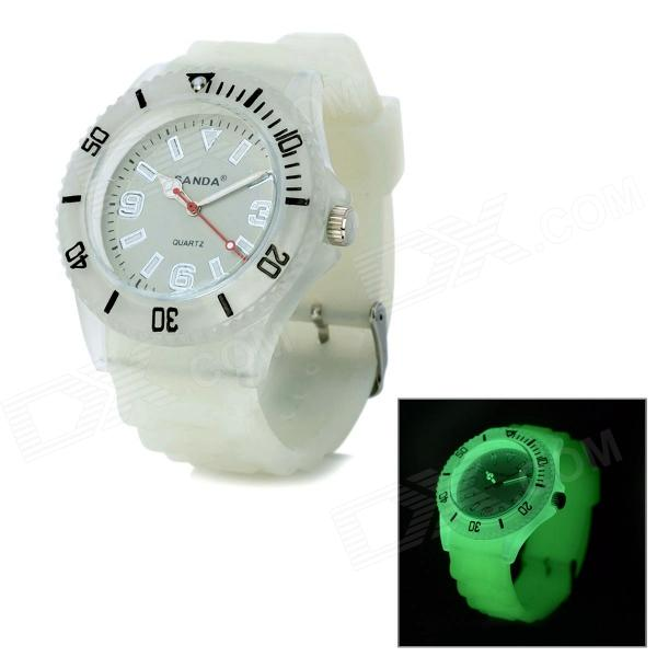 SANDA P070-3D1 Fashion Analog Quartz Silicone Band Plastic Wrist Watch - White (1 x LR626 / LR66)