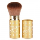 Makeup Rotating Retractable Loose Powder Blush Brush - Golden + Brown
