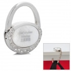 "Compact Folding ""God's Richest Blessings"" Zinc Alloy Bag Hanger Holder Hook - Silver + White"