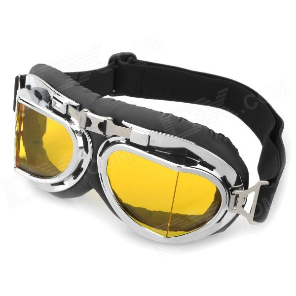 Cool Folding Motorcycle Riding Eye Protection Glasses Goggle - Black + Yellow + Silver stylish outdoor riding pc lens eye protection glasses goggle size l