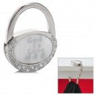 "Compact Folding ""God is Love"" Zinc Alloy Bag Hanger Holder Hook - Silver + White"