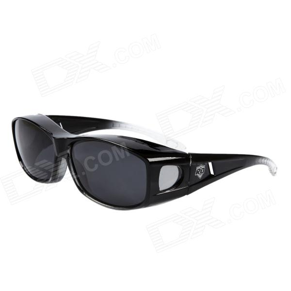 Fashion Myopic Polarized Resin Lens Sunglasses - Black + Grey carshiro 9150 uv400 protection resin lens polarized night vision driving glasses