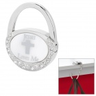 Compact Folding Zinc Alloy Bag Hanger Holder Hook - Silver + White