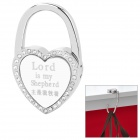"Compact Folding ""Lord is My Shepherd"" Zinc Alloy Bag Hanger Holder Hook - Silver + White"