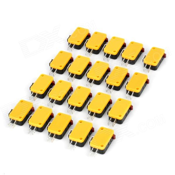 DIY 3-Pin Micro Switches - Black + Yellow (AC 250V / 20 PCS)
