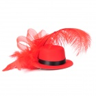 Feather Flower Mini Top Hat Hair Clips for Party / Holiday - Red