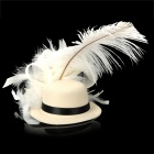 Feather Flower Mini Top Hat Hair Clips für Party / Holiday - Beige