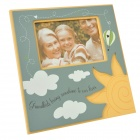 Homexw English Letter Cartoon Pattern Double-Carved Wooden Photo Frame - Blue + More