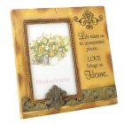Retro English Letter Love Pattern Poly Resin Photo Frame - Beige