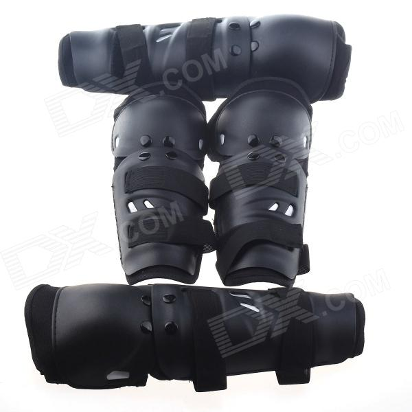 Motorcycle Sports Elbow Guard + Knee Pad Set - Black (4 PCS)