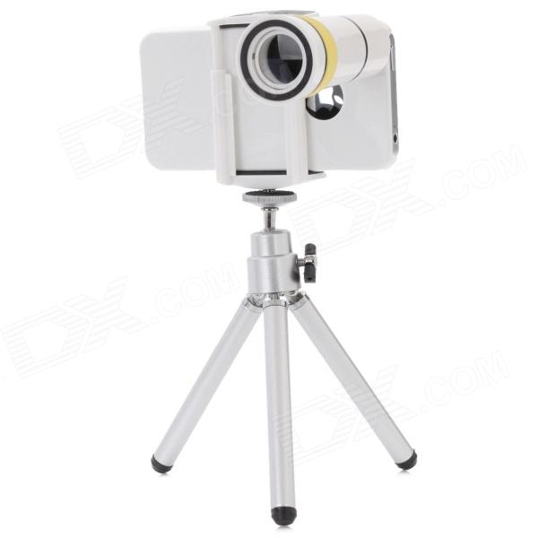 Detachable 10X Zoom Telephoto Lens Set for Iphone 4 / 4S - White