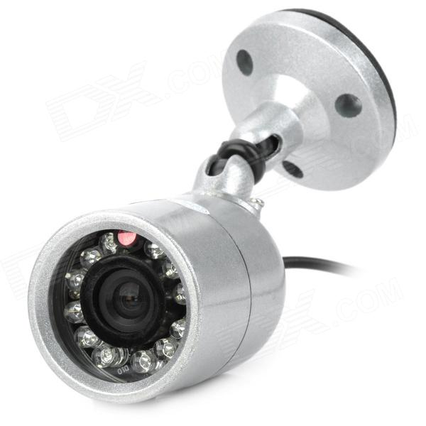 608s Waterproof Ntsc Cmos Cctv Camera W   12-ir Led Night Vision    Stand - Silver