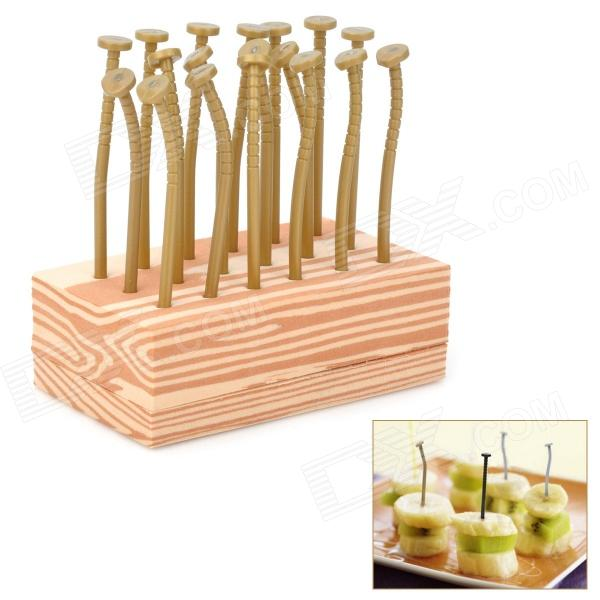 Creative Nail Shaped Fruit Forks - Khaki + Brown 140 page note paper creative fruit design