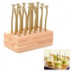 Creative Nail Shaped Fruit Forks - Khaki + Brown