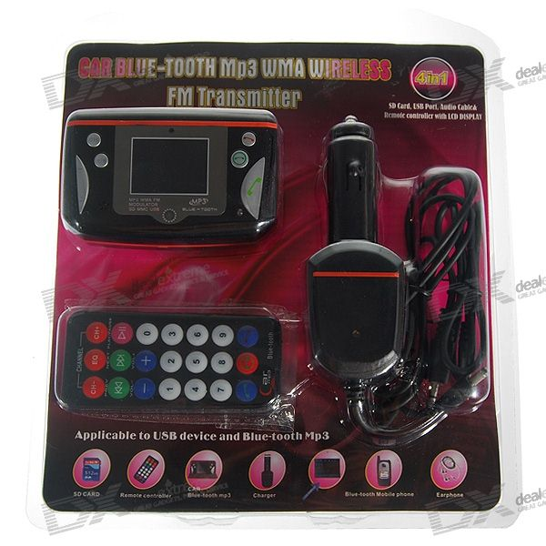 "1.5"" LCD MP3 Player FM Transmitter + Bluetooth Carkit with Caller ID Display (SD Slot + IR Remote)"