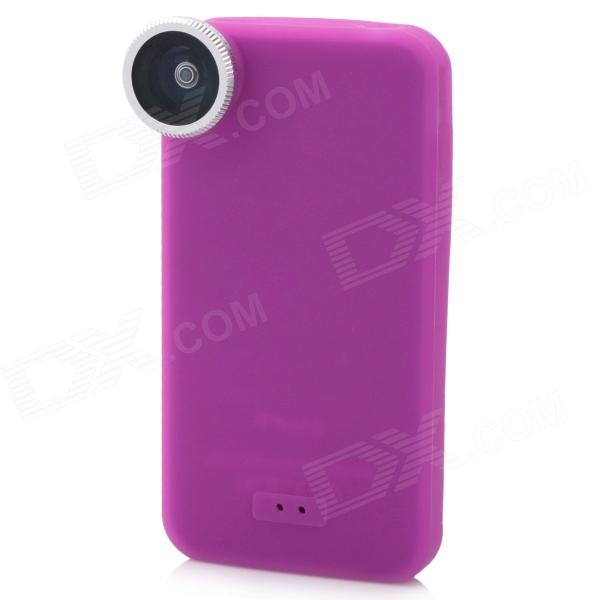 180-Degree Fish Eye Lens with Silicone Back Case for Iphone 4 / 4S - Purple + Silver