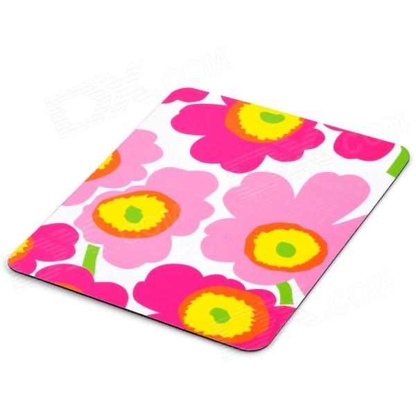 Stylish Flower Pattern Rubber Optical Mouse Pad - Red+ White + Yellow (22 x 17.8cm)
