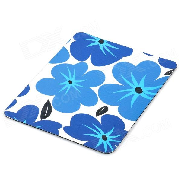 Stylish Flow Pattern Rubber Optical Mouse Pad - Blue + White (22 x 17.8cm)