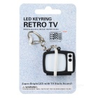 Estilo retro de la TV Llavero w / correa del teléfono celular / LED Light / Sound Noise TV Static - Negro (3 x AG13)
