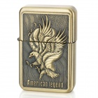 Earth Stylish Eagle Pattern Windproof Fluid Fuel Lighter - Golden
