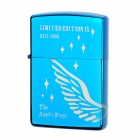 Earth Stylish Wing Pattern Windproof Fluid Fuel Lighter - Blue