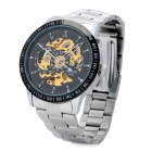 DAYBIRD Fashion Man's Stainless Steel Analog Mechanical Waterproof Wrist Watch - Black + Silver