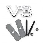 3D V8 Grill Decoration Emblem for Car Tuning - Silver