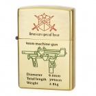 STAR Stylish Sub-machine Gun Pattern Windproof Fluid Fuel Lighter - Golden