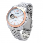 EYKI Fashion Man's Stainless Steel Analog Mechanical Waterproof Wrist Watch - White + Golden