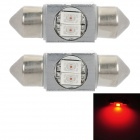 Festoon 31mm 1W 80lm 2-SMD 5630 LED Red Light Anti-Seismic Car Part Hat (12V / Pair)