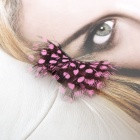 Pink Spot Animal Feather Style Artificial Eyelashes - Pink + Black (1 Pair)