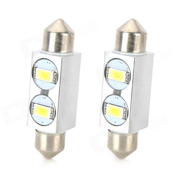 Festoon 39mm 1W 80lm 2-5630 SMD White LED Car Reading / License Plate Lamp (12V / 2 PCS) festoon 31mm 3w 300lm 6 smd 5630 led white light car reading license plate lamp 12v 2 pcs