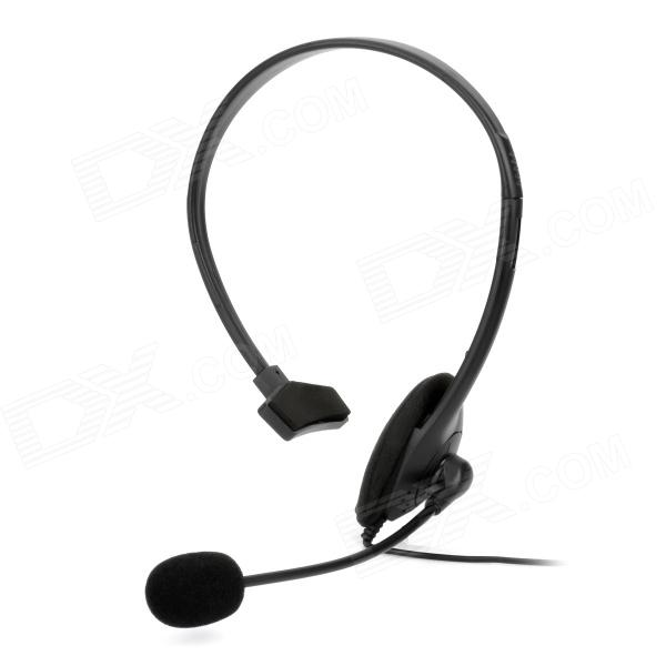 Unilateral Earphone Headset w/ Volume Control / Microphone for Xbox 360 - Black (120cm-Cable)