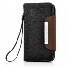 Protective PU Leather Magnetic Wallet Case w/ Plastic Holder for Samsung i9300 - Black