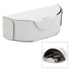 Carzor QSD-HW001 Lychee Pattern Collapsible PU Leather Sunglasses Box - White