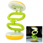 Hamburger Style Rechargeable 22-LED White Light Lamp - Yellow + Green (US Plug / AC 110~220V)
