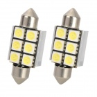 Festoon 36mm 3W 8000K 72lm 6-5050 SMD White LED Car Reading Lamp (12V / 2 PCS)